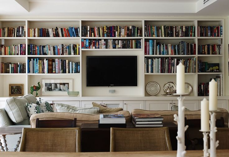 Living Room With Lots Of Book Shelves, Living Room Bookcases & Built-In