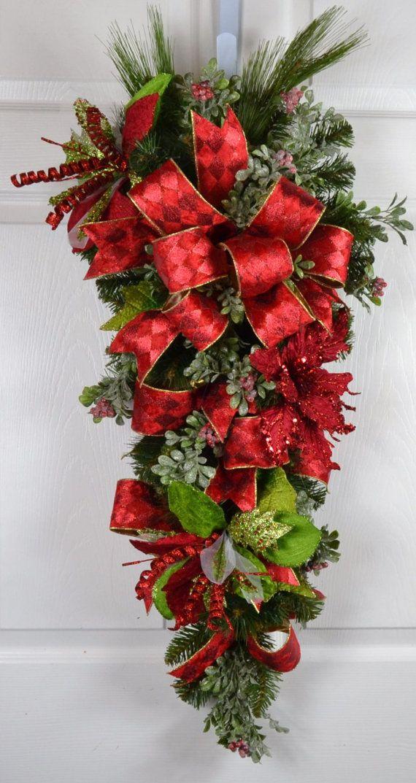 Elegant Christmas Poinsettia Wreath Christmas Door