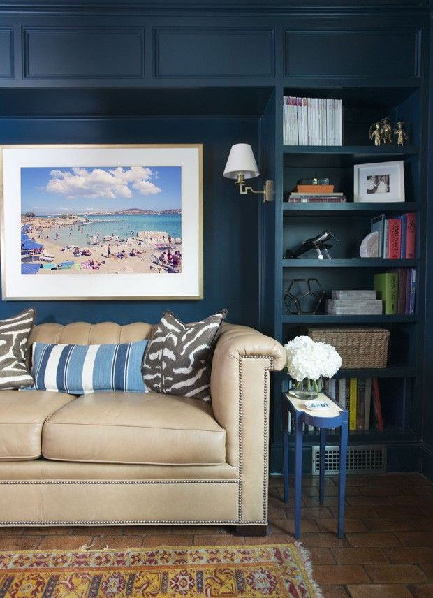 Pictures In Gallery Blue library by House Beautiful Next Wave interior designer Amy Berry via Sarah Sarna