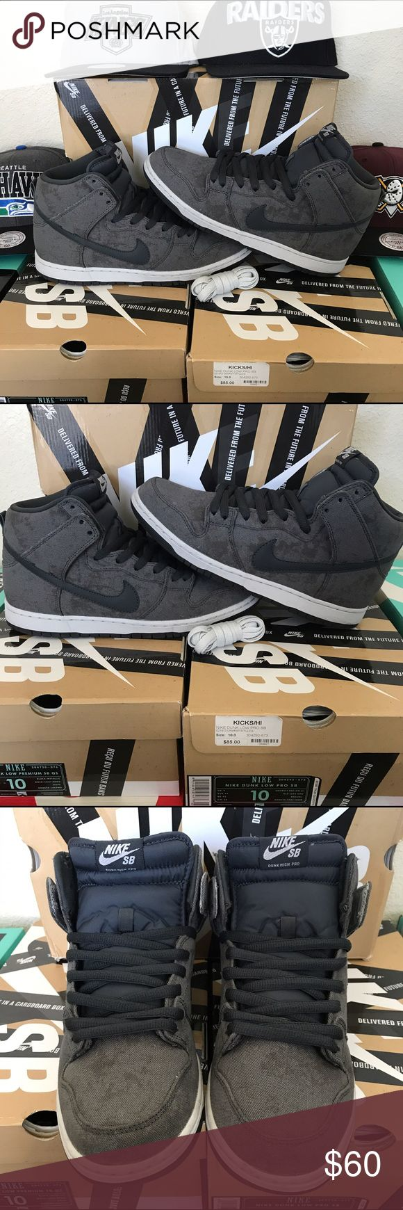 """NIKE SB Dunk High Pro """"Stained Canvas"""" colorway (NEUTRAL GREY-ANTHRACITE) - GENTLY USED/EXCELLENT CONDITION -- Retailed for $98 -- (*ALL HATS PICTURED ARE FOR SALE SEPARATELY*) Nike Shoes Sneakers"""