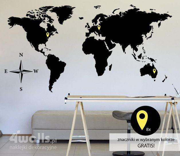 naklejka MAPA ŚWIATA XL - 4walls - Naklejki na ścianę