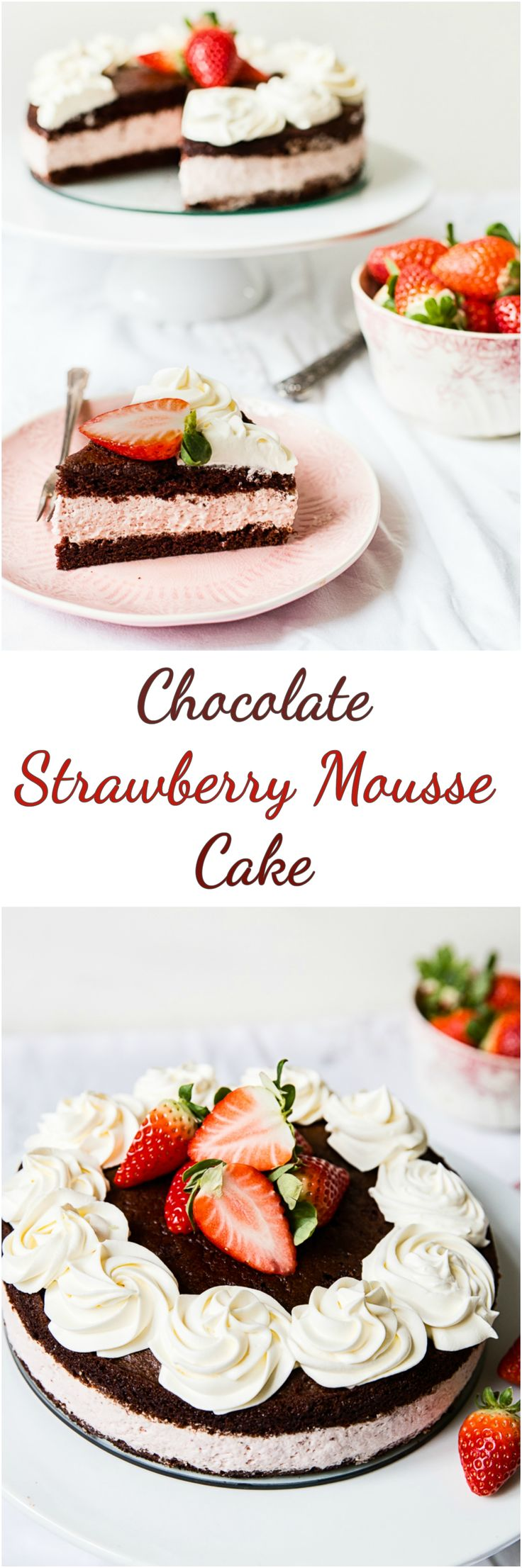 This chocolate strawberry mousse cake might look like it came from a patisserie shop but is easy to make at home and tastes divine! Dark chocolate sponge layers sandwiched together with a light and creamy strawberry mousse. #chocolatecake #strawberrymousse