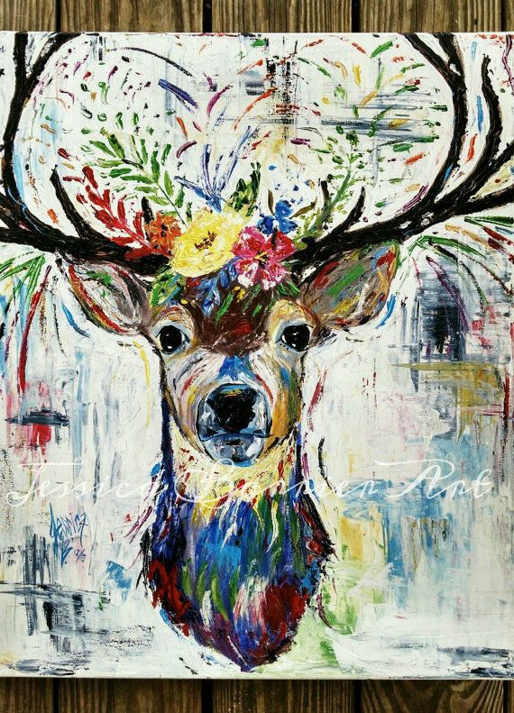 Colorful Deer Antler Art  https://www.etsy.com/listing/262181360/20x24-original-abstract-deer-painting