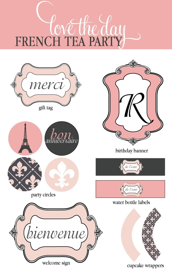 French Tea Party PRINTABLE by lovetheday on Etsy