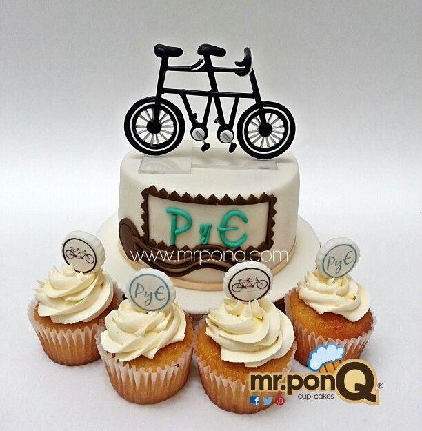 torta y cup-cakes para boda. tema bicicletas. mr.ponQ