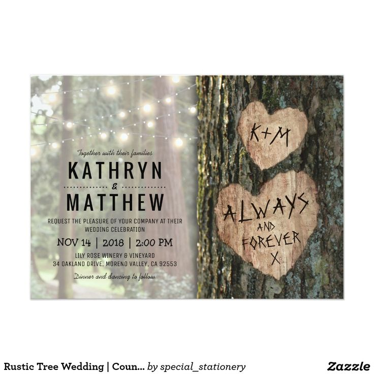 zazzle wedding invitations promo code%0A Rustic Tree Wedding Invitation   Country Twinkle Lights  hearts  Outdoor  Nature Forest Wedding