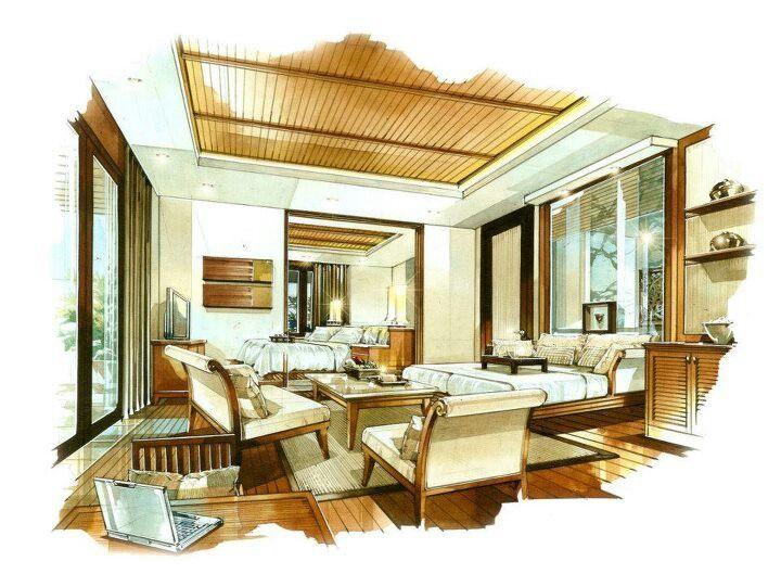 Interior Rendering, Interior Sketch, Interior Design, Environment Sketch, Perspective  Drawing, Sketch Design, Architectural Sketches, Copic, Marker