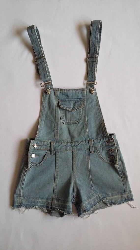 Woman Braces Jeans Shorts / Girls 90s Denim Braces Jeans / Woman Denim Shorts / Woman Vintage Braces Jeans Shorts / Teenage 90s Braces Jeans