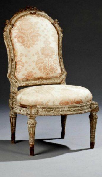 Chaise a chassis d 39 epoque louis xvi estampille de louis for Largeur chaise