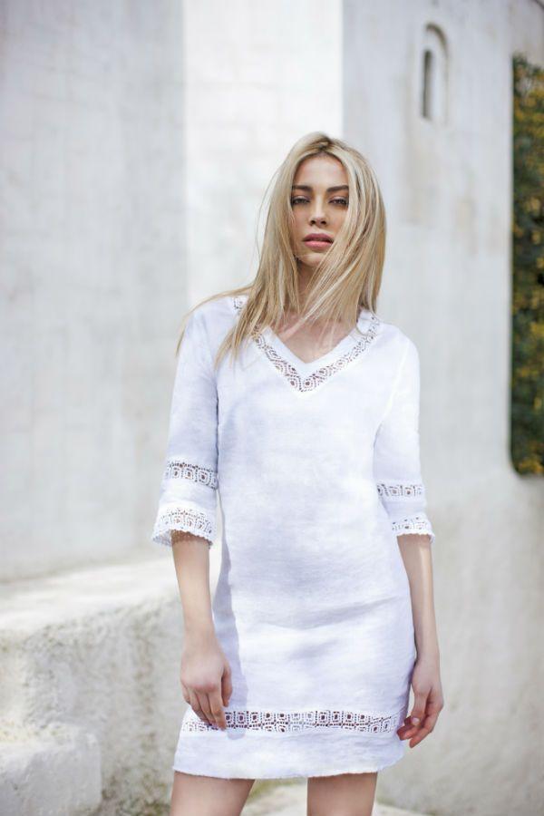 Haris Cotton,Linen Dress with Cotton Lace 1305 White