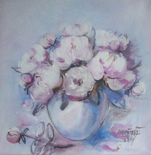 Ružové pivonie maľovaný obraz akryl blind rám na zavesenie z druhej strany 30 x 30 cm