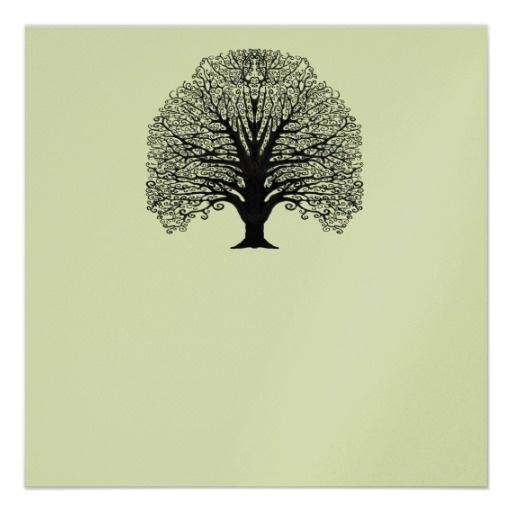 Small Fingerprint Live Oak Tree Wedding Guest Book Hand Drawn: Black Swirl Tree Invitation