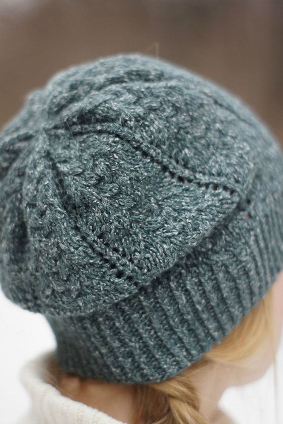 Hand knitted spring women hat green rustic emerald by SockClub