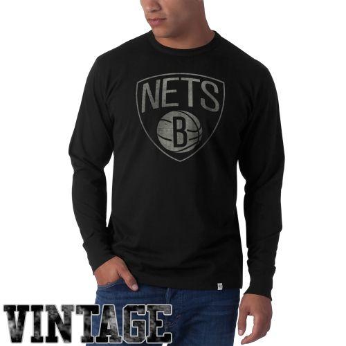 NBA '47 Brand Brooklyn Nets Flanker Long Sleeve T-Shirt - Black
