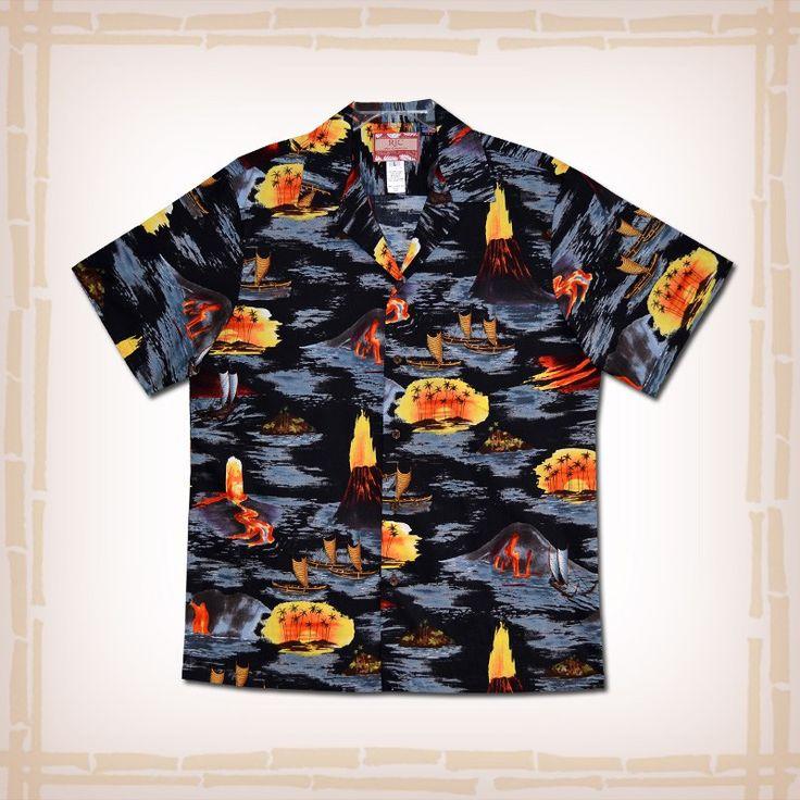 "RJC Hawaiian Shirt ""Lava Seas"" - Black Aloha Shirt"