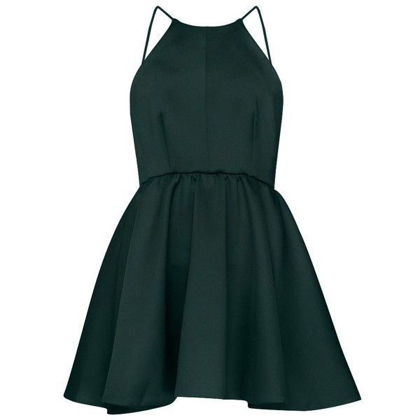 After Dark High Neck Apron Dress (£54) ❤ liked on Polyvore featuring dresses, vestidos, short dresses, green, high neck dress, short green dress, dark green dress and apron dress