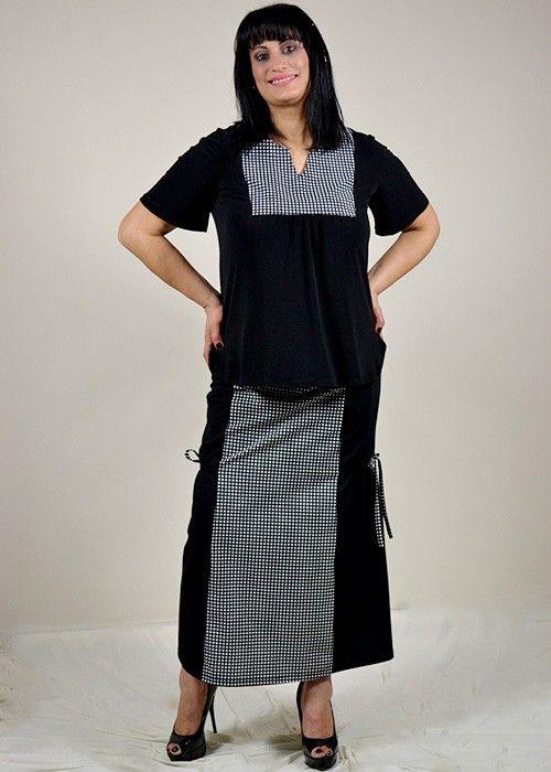 μπλούζα κοντή μαύρη συνδυασμένη με καρό ύφασμα