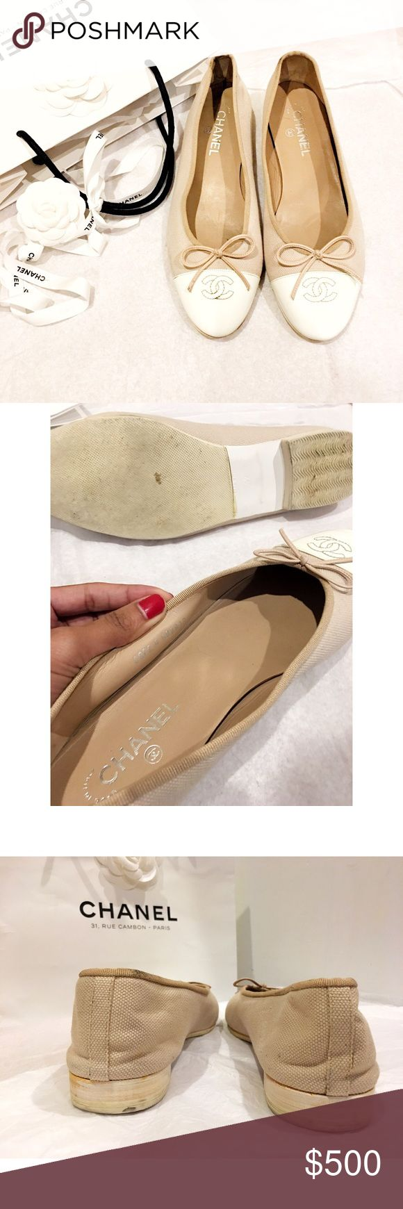 "HOLIDAY SALE🌷 Chanel Nude CC Classic Ballet Flats Authentic. Nude pastel pink & cream patent leather CC cap toe ballet flats w/ 1""heel. Pre-loved condition & have been resoled. Made in Italy, Euro 42. Please note: Chanel runs small. No box/dustbag. Priced low due to wear but still have tons of walking left to do! *I personally style all pics* NO TRADE. PRICE FIRM unless bundling. Bundle & save even more✅ CHANEL Shoes Flats & Loafers"