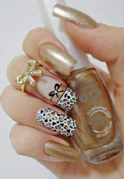 Gold with leopard print