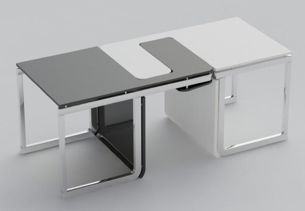 Sensei chair/table set, un intéressant ensemble de deux chaises qui peuvent être emboitées pour servir de petite console lorsqu'elles ne sont pas utilisées. Par Claudio Sibille