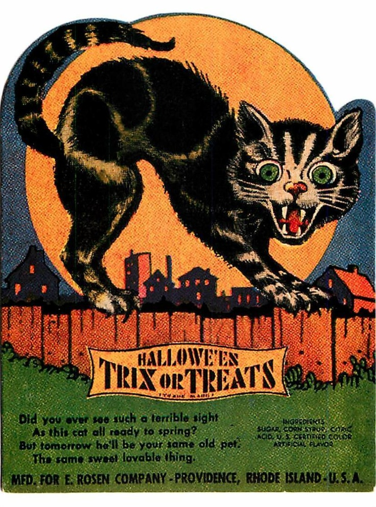 Halloween Trix or Treats Cat on a Fence Candy Wrapper