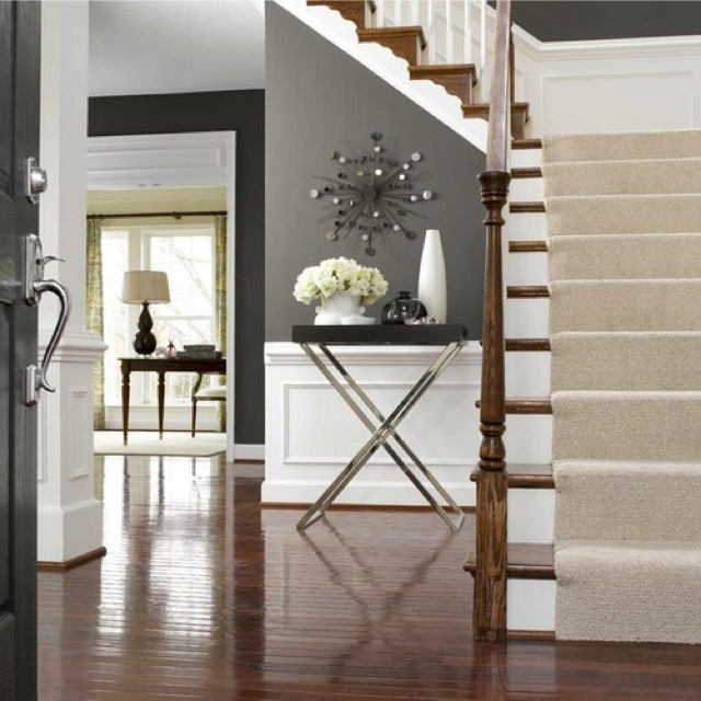 Grey walls white trim stairs with neutral runner the for Grey and white walls
