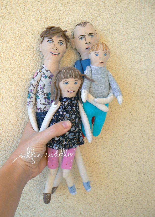 personalised handmade fabric doll, portrait doll, family dolls