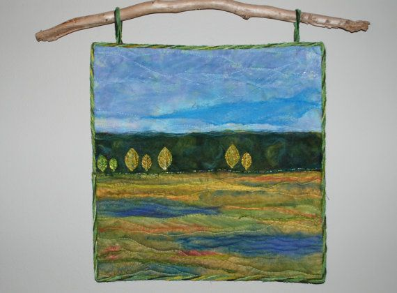 Landscape Fiber Art Quilted Wall Hanging by ForComfortQuilts