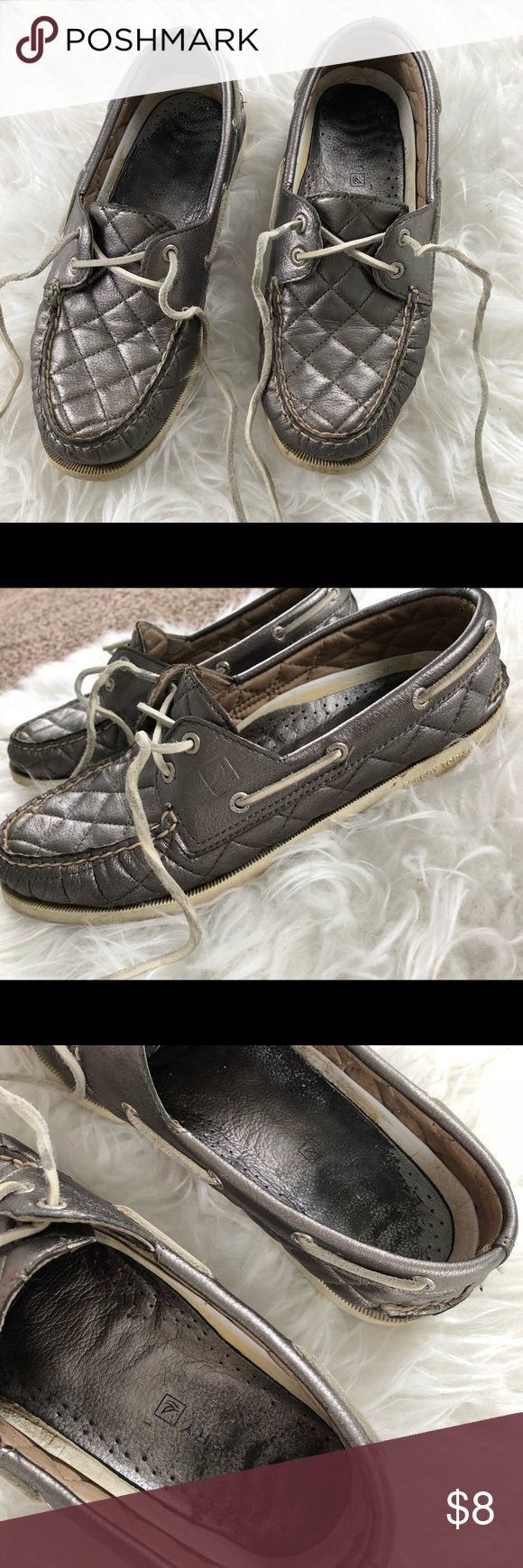 Pewter Sperry TopSiders Very well loved Sperry TopSiders. These are in worn condition, that's why I'm selling them so cheap. They still have life to them though! I have pictured the condition! Size Women's 9M. Sperry Top-Sider Shoes Sneakers