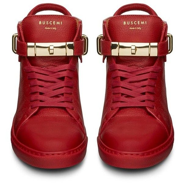 Buscemi 100mm Guts Red Mid Top Sneaker ($967) ❤ liked on Polyvore featuring shoes, sneakers, red trainer, buscemi sneakers, red shoes and red sneakers