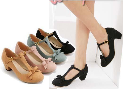 Classy Retro Style Women Shoes Elegant Strappy Medium Chunky Heel Dress Pumps | eBay $28.99