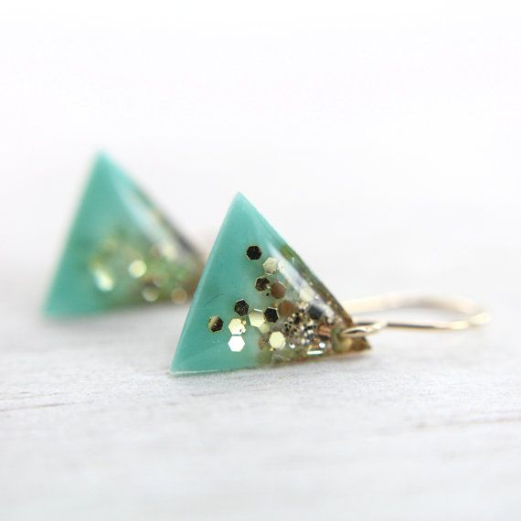 turquoise with gold glitter gradient earrings with on 14k gold-filled ear wires - geometric earrings