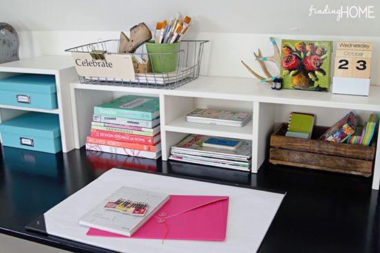 Top desk storage from Reader Space: A Charming Place to Create // finding home via i heart organizing