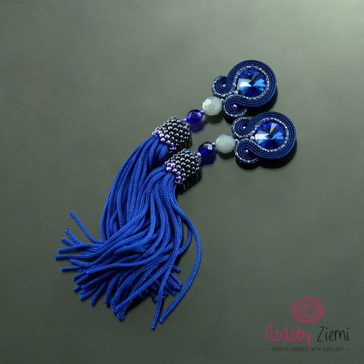 Clip on Tassel Long Silver Navy Blue Soutache Earrings - Long Unique Sapphire Earrings - Blue Earrings - Orecchini Soutache - Clip Tassels by OzdobyZiemi on Etsy