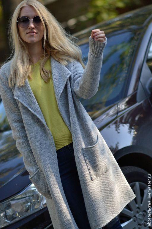 Купить Длинный кардиган La liberta soft - серый, пальто женское, пальто вязаное