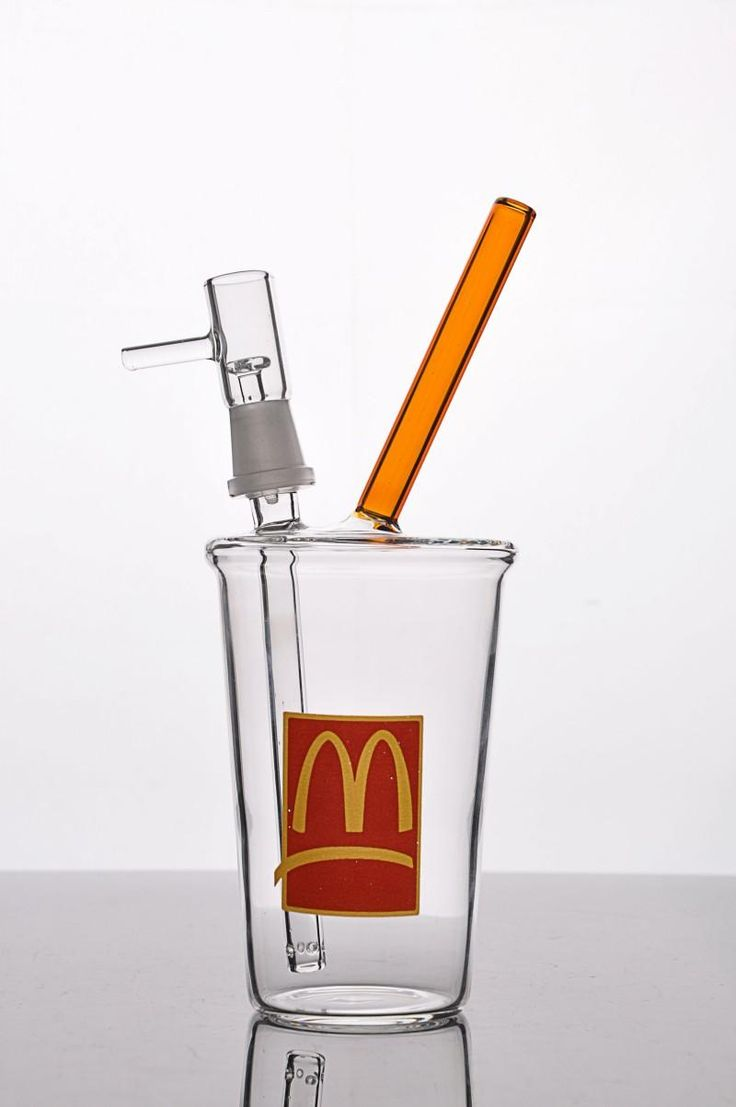 Wholesale McDonalds Cup Small Water Pipe Dab Concentrate Oil Rig with Downstem Cheech Beaker Bong Mini Honey Cup