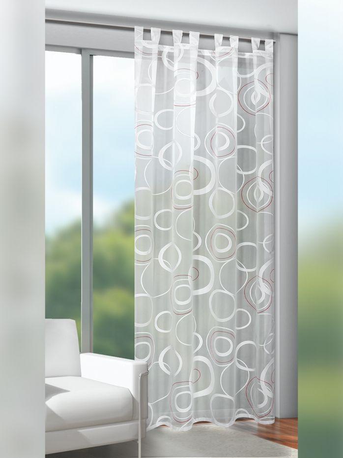 Fensterdeko Halbtransparenter Mit Farblich Abgesetzten Kreisen Bedruckter Schlaufenschal Schlaufenschals Haus Deko Fensterdekoration