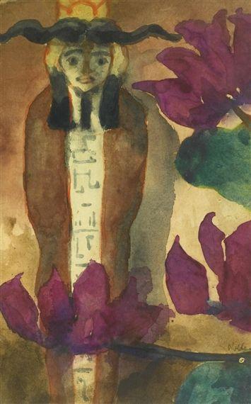 EMIL NOLDE Ägyptische Figur und Rotvioletten Bluten (Egyptian Figure and Purple Flowers, c.1915)