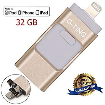 USB Flash Drives for iPhone 32GB Pen-Drive Memory Storage, G-TING Jump Drive Lightning Memory Stick External Storage, Memory Expansion for Apple IOS Android Computers (Gold)