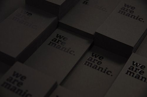 Hotstamped and silkscreened black on black business cards by Singaporean studio Manic. Nice.: Blackonblack