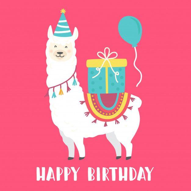Happy Birthday Card With Cute Cartoon Llama Happy Birthday Cards Birthday Cards Llama Birthday