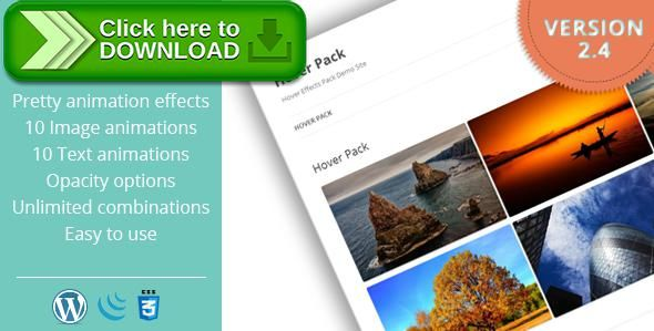 [ThemeForest]Free nulled download Hover Effects Pack - WordPress Plugin from http://zippyfile.download/f.php?id=45343 Tags: ecommerce, animation, css, css3, hover, image, opacity, pagebuilder, prettyphoto, shortcode, thickbox, touch, transparency, visual composer, wordpress