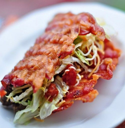 Forget the Dorito taco shell. Behold the Bacon Taco Shell.