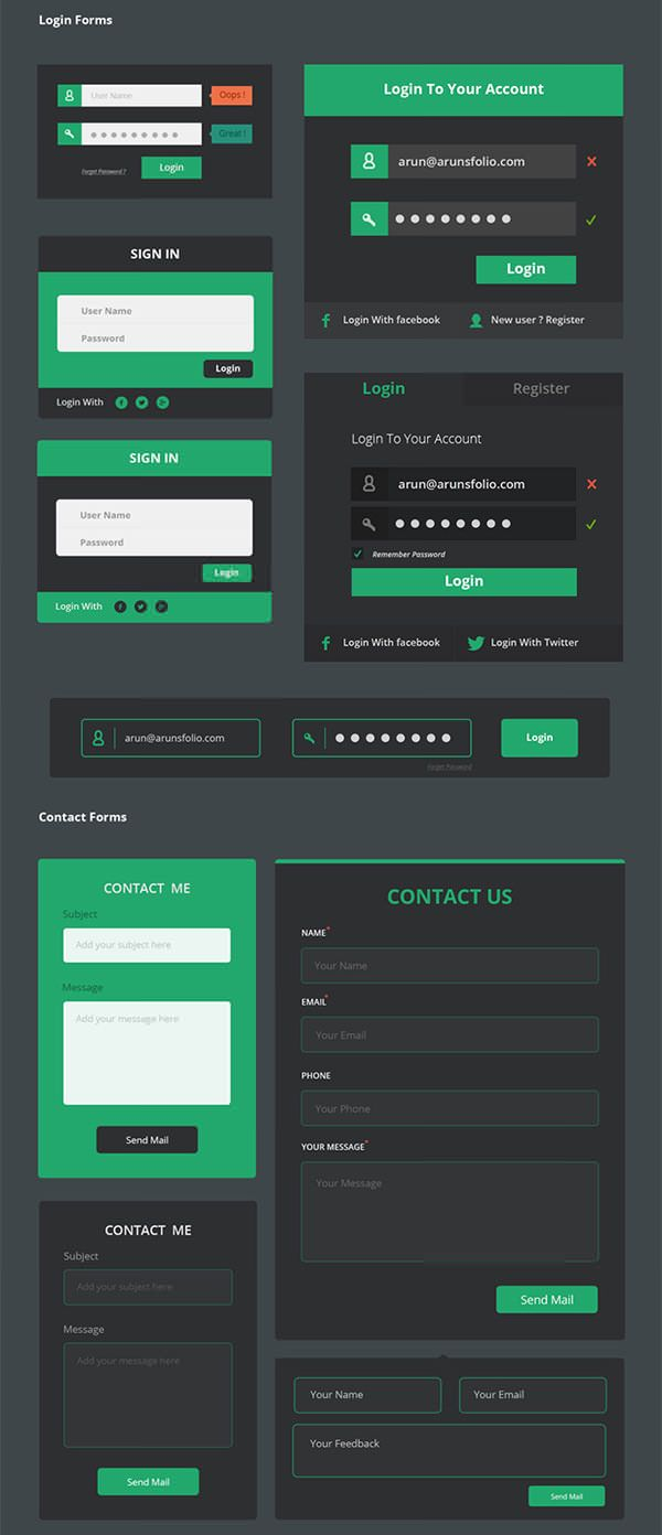 Login layout  form and FAQ_Flat design