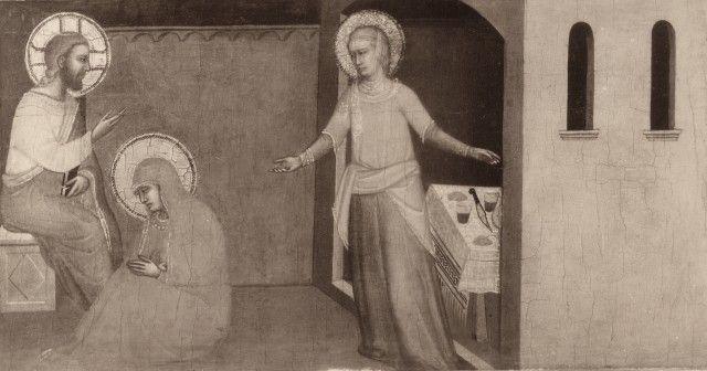 Anonimo , Maestro della Pala di Fabriano - sec. XIV - Cristo in casa di santa Marta e santa Maria Maddalena - particolare