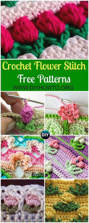 Collection of Crochet Flower Stitch Free Patterns: crochet inline tulip stitch, open work flower stitch, rosebud stitch, and more inline flower pattern via /diyhowto/