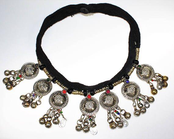 Tribal Halskette Kuchi Nomaden Kette mit Metallanhängern