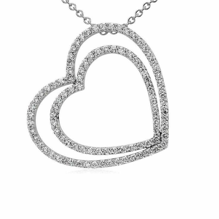Duet Heart Diamond Pendant in 9K White Gold (1.04ct tw)   The Diamond Channel, Johannesburg