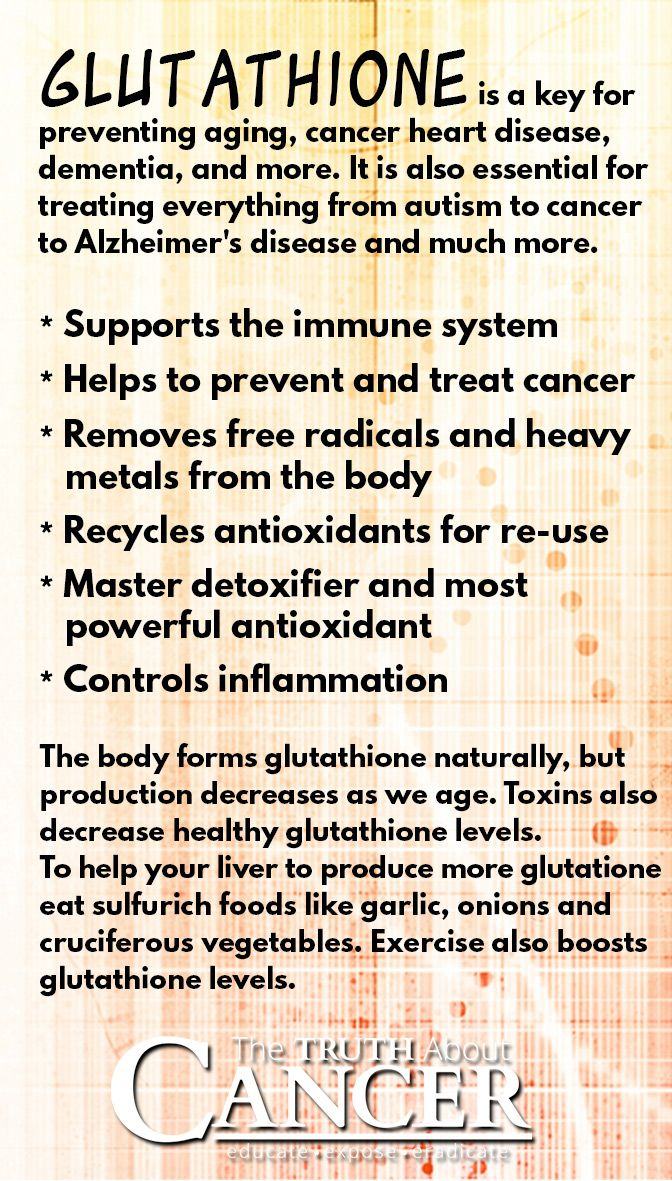 """Are you familiar with Gluthathione? It's a key for preventing aging, cancer, heart disease, dementia, and other chronic diseases. Read all about how it works and why it is considered """"the master antioxidant"""" when clicking on the image above."""
