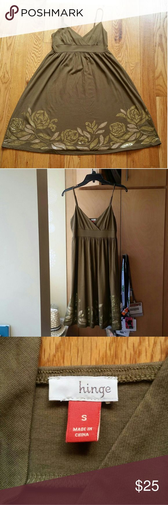 Hinge slipdress with sequined hem, size S *NWOT Olive empire waist slip dress from hinge.  Cotton/modal blend, adjustable straps,  sequined hem. Light, easy dress for spring and summer parties, concerts and date nights. Looks new and unworn, no pilling or wear. Possible stain on skirt, disappears at a distance, but still took a pic (4).   Measures 13.5 inches across the waist, 36.5 from shoulder to help with current strap adjustment. hinge Dresses